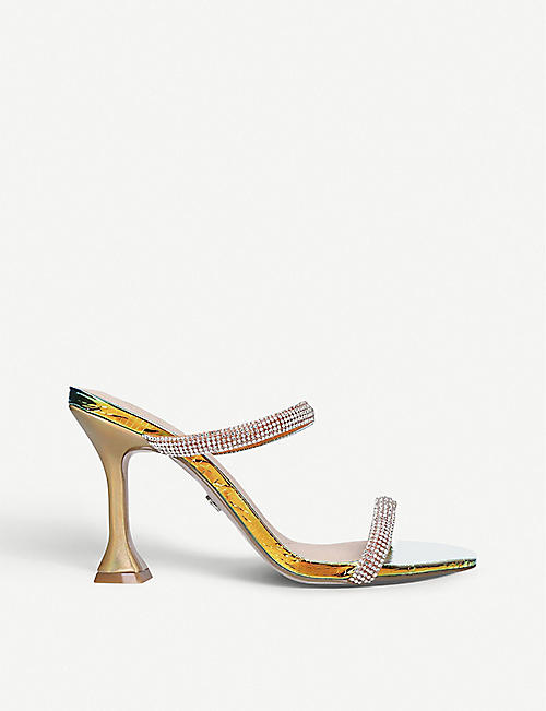KG KURT GEIGER: Foster crystal-embellished leather heeled sandals