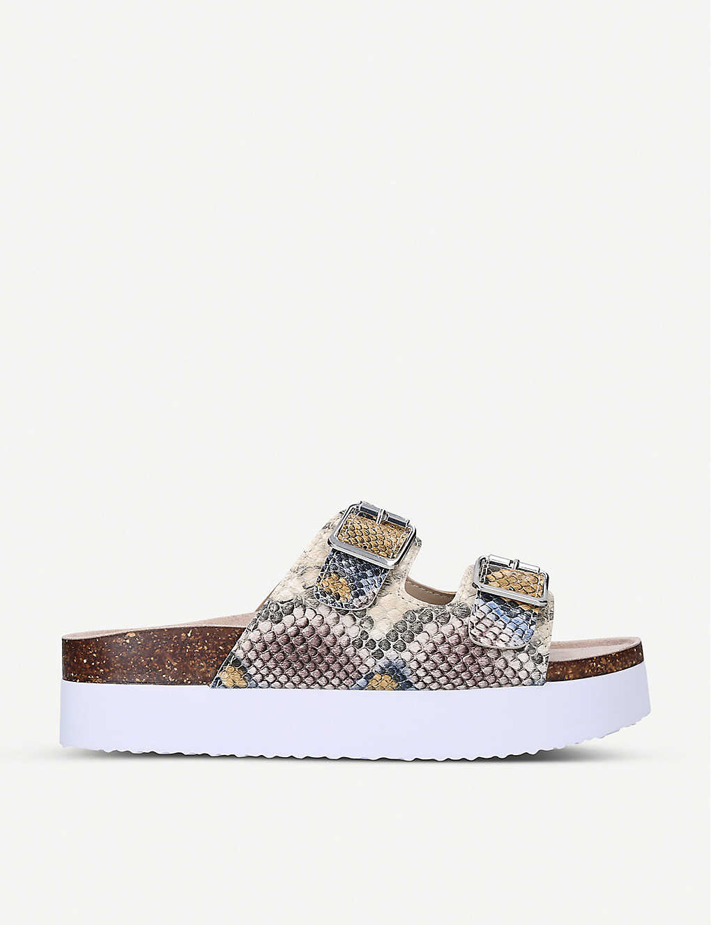 KG KURT GEIGER: Ruse snake-print leather flatform sliders