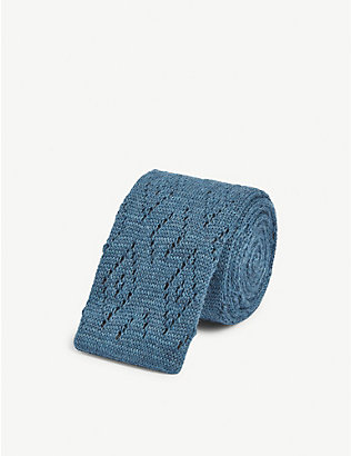 ETON: Squared-off knitted wool and cotton-blend tie