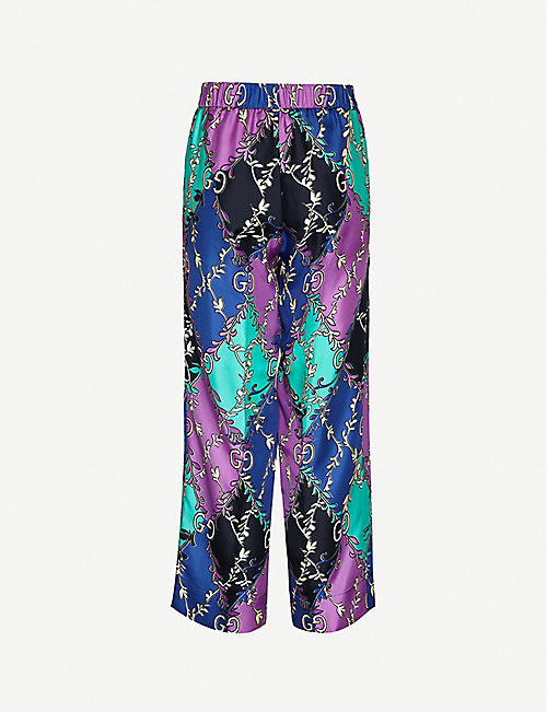 GUCCI Colour-blocked logo-print wide high-rise silk trousers