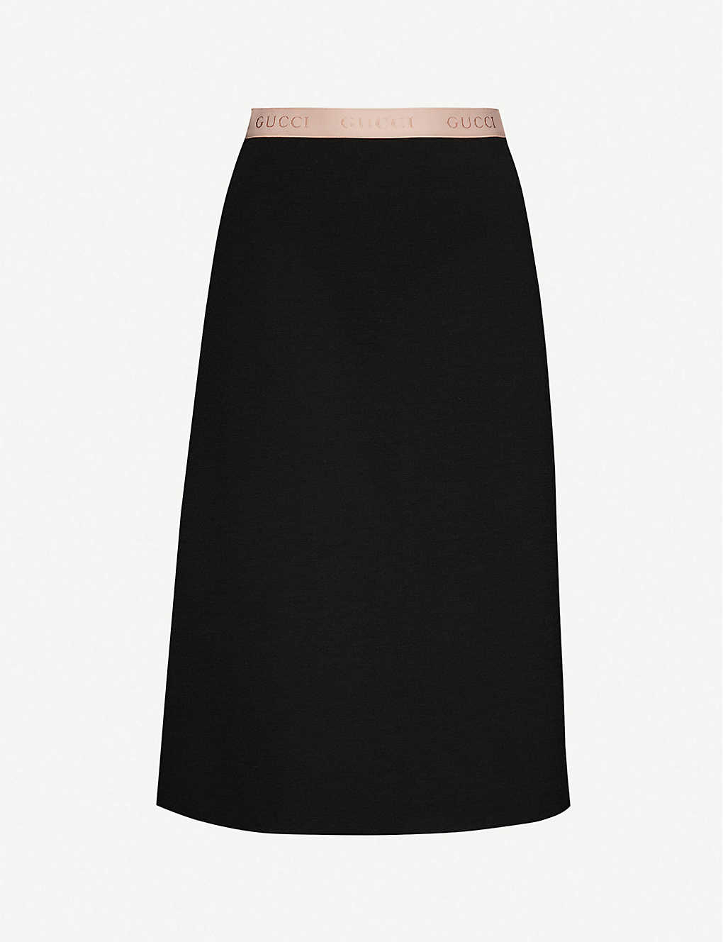 GUCCI: Branded-waistband wool-blend midi skirt