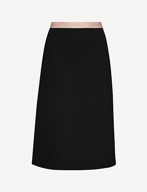 GUCCI Branded-waistband wool-blend midi skirt