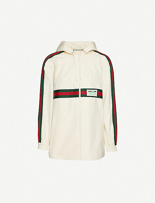 GUCCI Striped-panel cotton hooded jacket