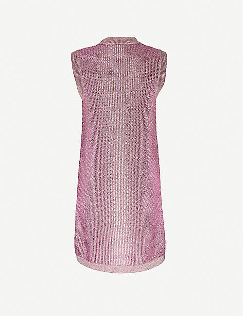 GUCCI Metallic knitted mini dress