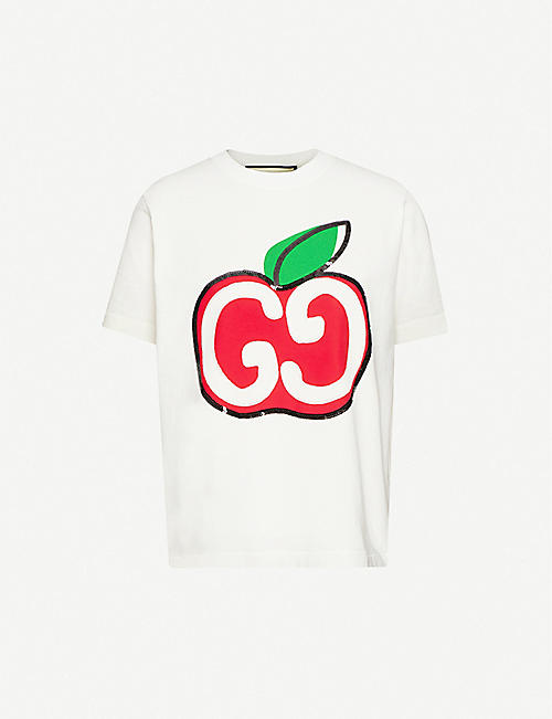GUCCI GG apple-print embellished cotton-jersey T-shirt