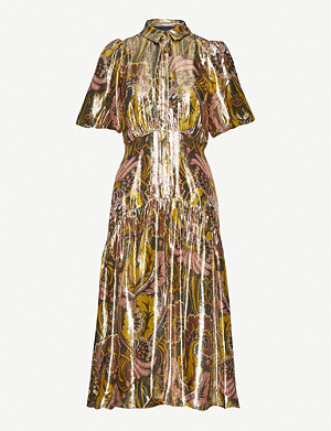 WHISTLES Paisley silk-blend midi-dress