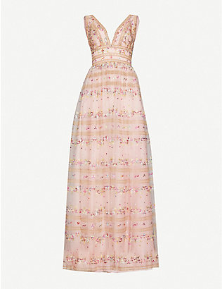 COSTARELLOS: Floral-embroidered tulle maxi dress