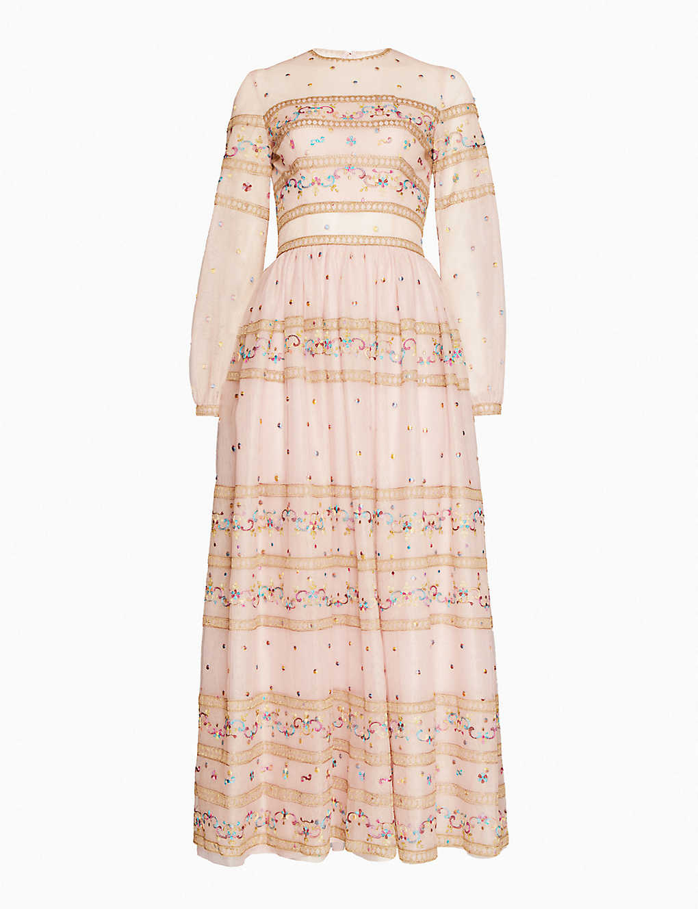 COSTARELLOS: Floral-embroidered tulle midi dress