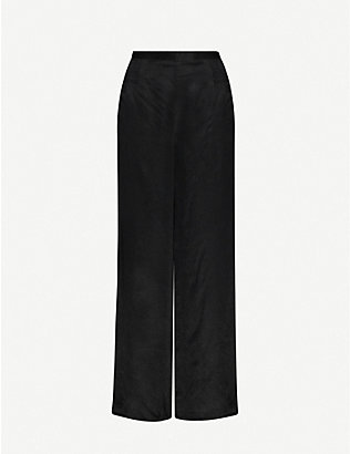 WON HUNDRED: Jojo high-rise wide-leg satin-twill trousers