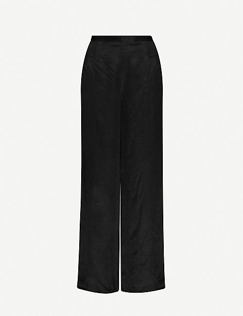WON HUNDRED Jojo high-rise wide-leg satin-twill trousers
