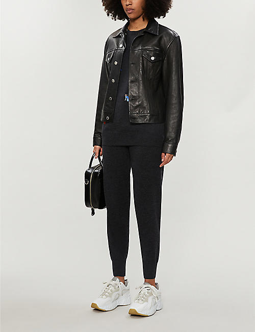 MARKUS LUPFER Lip-embroidered wool jogging bottoms