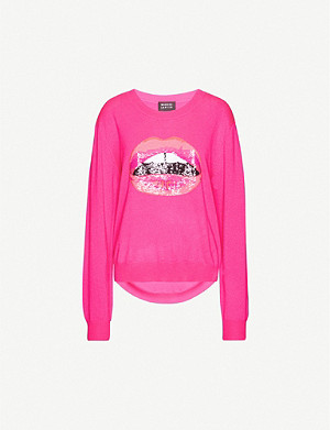 MARKUS LUPFER Joey sequin lip-embellished wool jumper