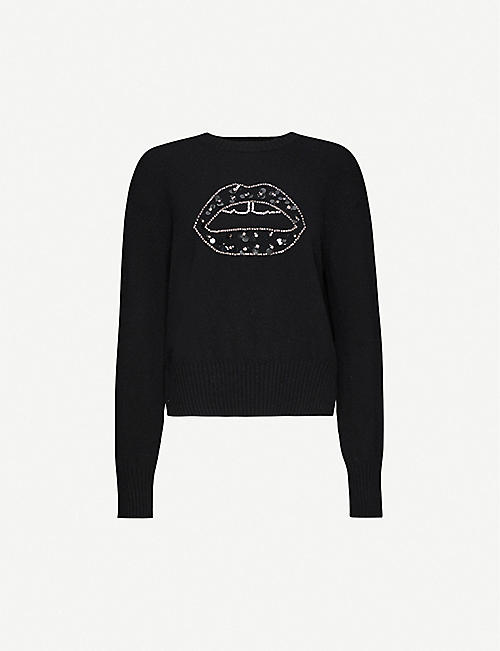 MARKUS LUPFER Megan embellished lip-print wool jumper