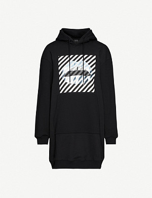 MARKUS LUPFER Lucie striped-print cotton-jersey hoody dress