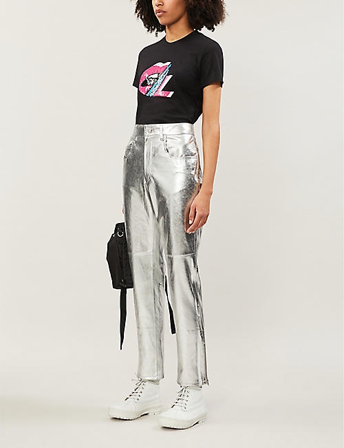 MARKUS LUPFER Kate Lip sequin-embellished cotton-jersey T-shirt