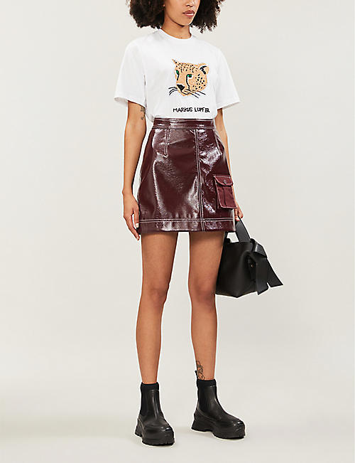 MARKUS LUPFER Cheetah sequin-embellished cotton-jersey T-shirt