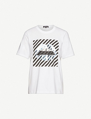 MARKUS LUPFER Alex diagonal-stripe cotton-jersey T-shirt