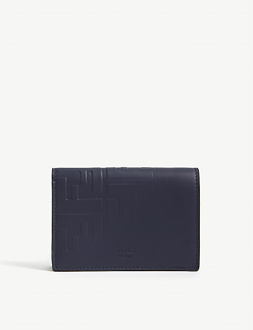 FENDI Embossed logo leather card holder