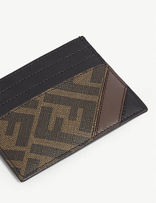 FENDI FF logo print leather card holder