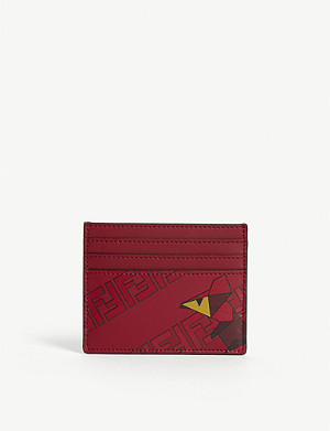 FENDI Logo leather card holder