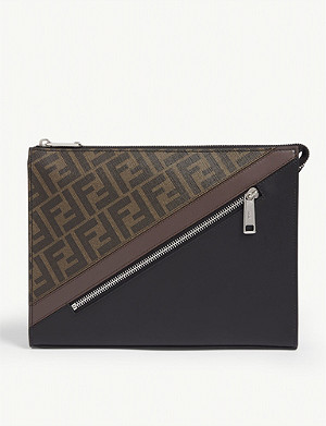 FENDI Logo-printed canvas and leather pouch