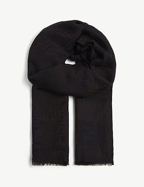 FENDI Apostle wool and silk scarf