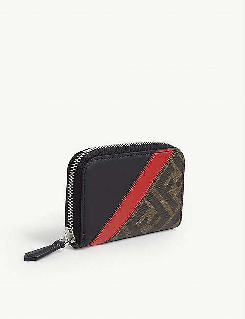 FENDI FF stripe leather wallet