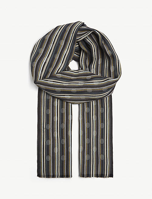PAUL SMITH ACCESSORIES Polka dot striped scarf
