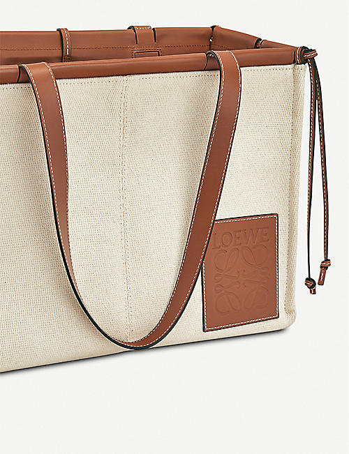 LOEWE Cushion leather and canvas small tote bag