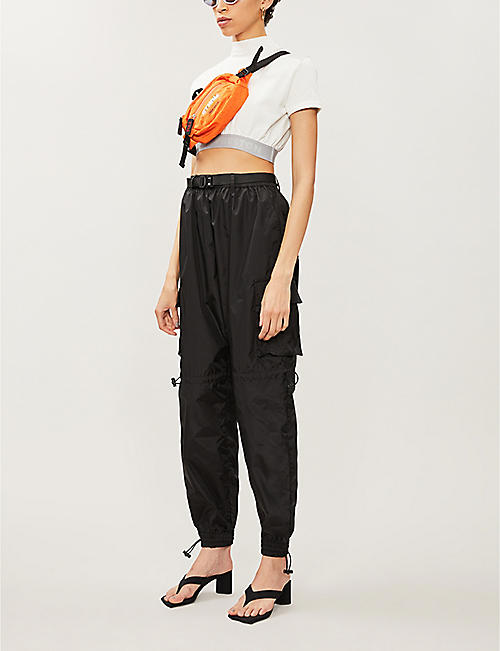 HERON PRESTON Logo-embroidered cropped cotton-jersey top