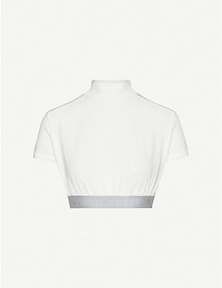 HERON PRESTON: Logo-embroidered cropped cotton-jersey top