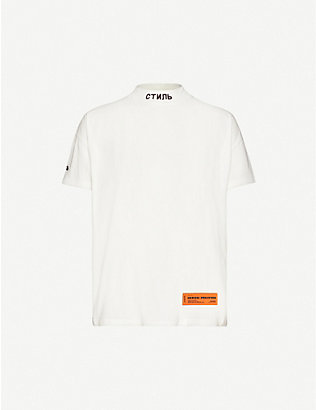HERON PRESTON: Embroidered-neckline branded-patch cotton-jersey T-shirt