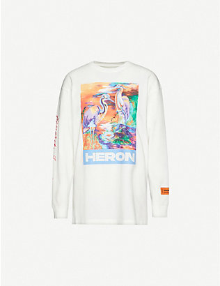 HERON PRESTON: Heron-print cotton-jersey T-shirt