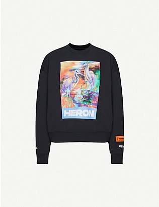 HERON PRESTON: Heron-print cotton-jersey sweatshirt