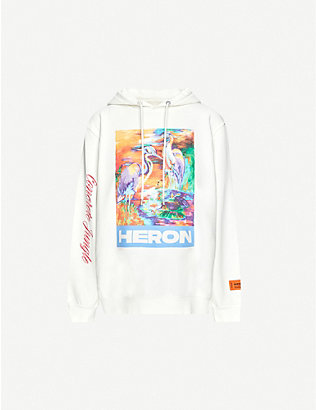 HERON PRESTON: Graphic-print cotton-jersey hoody