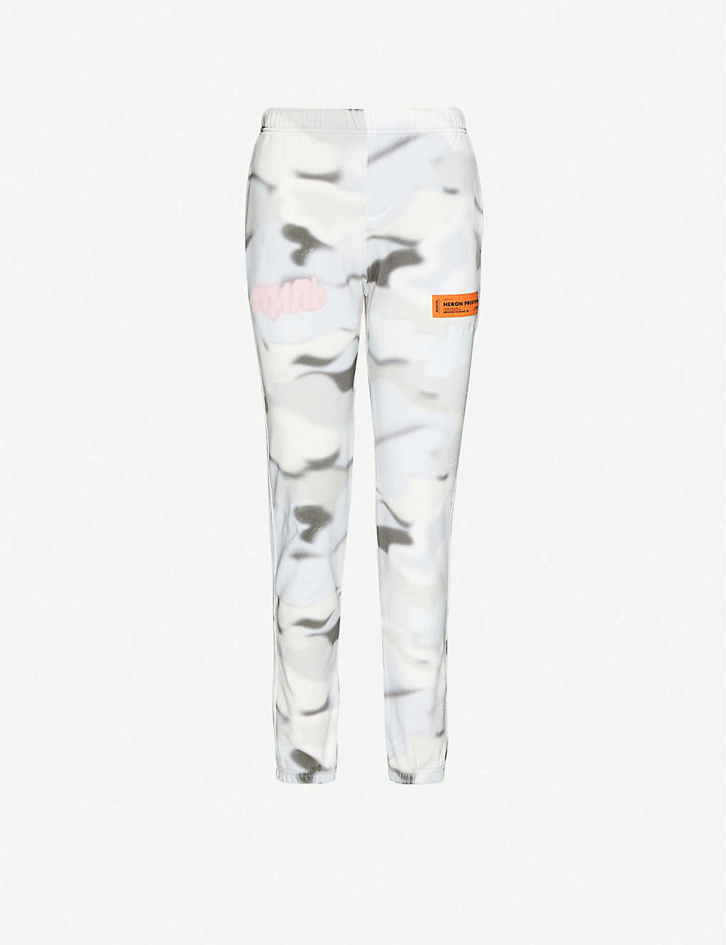 HERON PRESTON: Abstract-print tapered high-rise cotton-jersey jogging bottoms