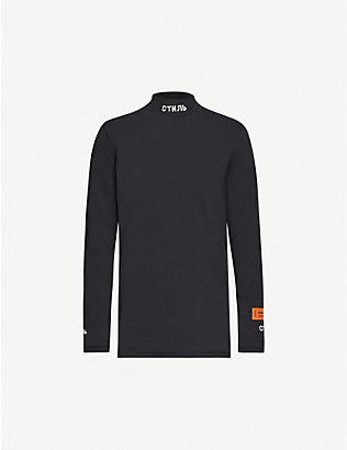 HERON PRESTON: Branded-turtleneck cotton-jersey top