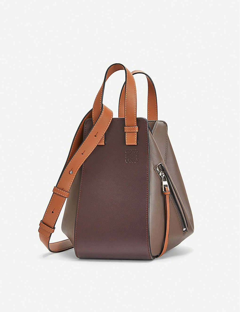Hammock leather small shoulder bag - OXBLOODTAUPE