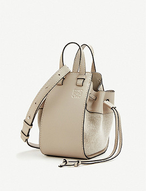 LOEWE Hammock Drawstring leather and linen bag