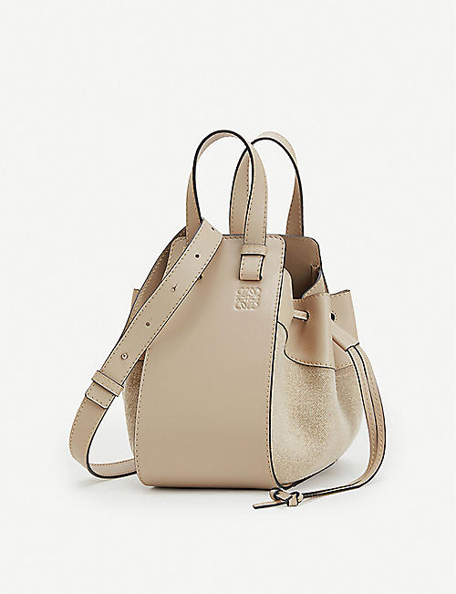 LOEWE Hammock Drawstring Small leather and linen bag