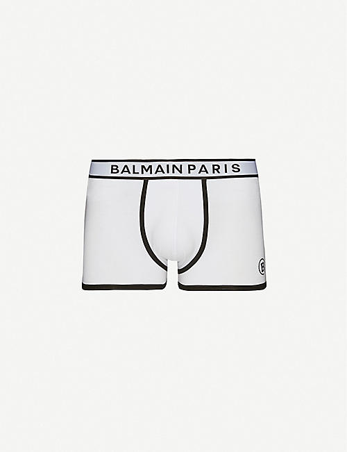 BALMAIN: Logo-embroidered stretch-cotton jersey trunks