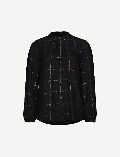 RAILS Eloise metallic tartan-pattern woven shirt