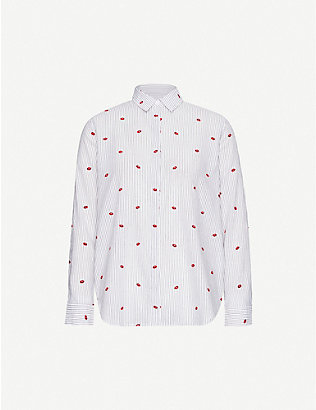 RAILS: Taylor striped lip-print cotton-blend shirt