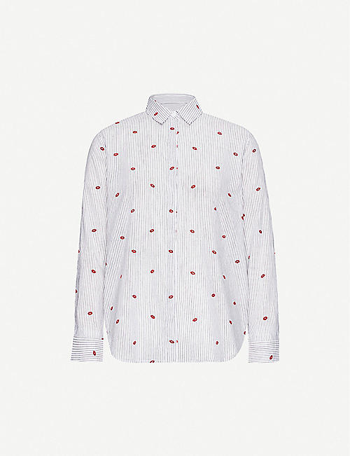 RAILS Taylor striped lip-print cotton-blend shirt