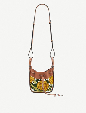 LOEWE Loewe x William De Morgan Hammock floral-embroidered drawstring mini leather shoulder bag