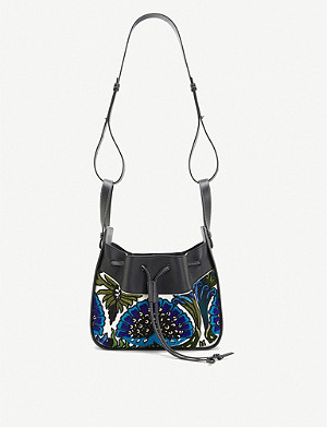 LOEWE Loewe x William De Morgan Hammock floral-embroidered leather shoulder bag