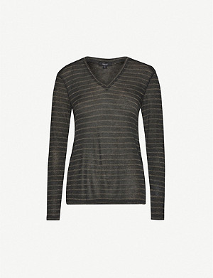 RAILS Sami striped long-sleeved knitted T-shirt