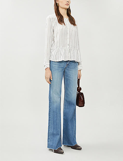 RAILS Ruby metallic-stripe woven blouse