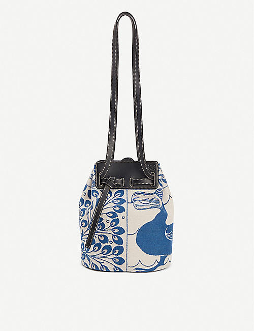 LOEWE Loewe x William De Morgan Lazo wool and leather bucket bag