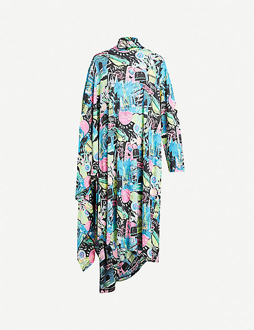BALENCIAGA: Printed high-neck cotton-jersey midi dress